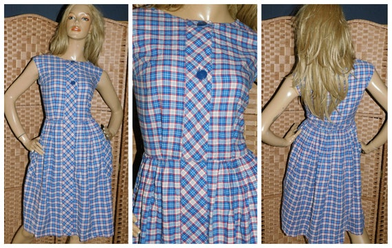 Vintage 1930s Red White Blue CHECK COTTON PINNAFOR