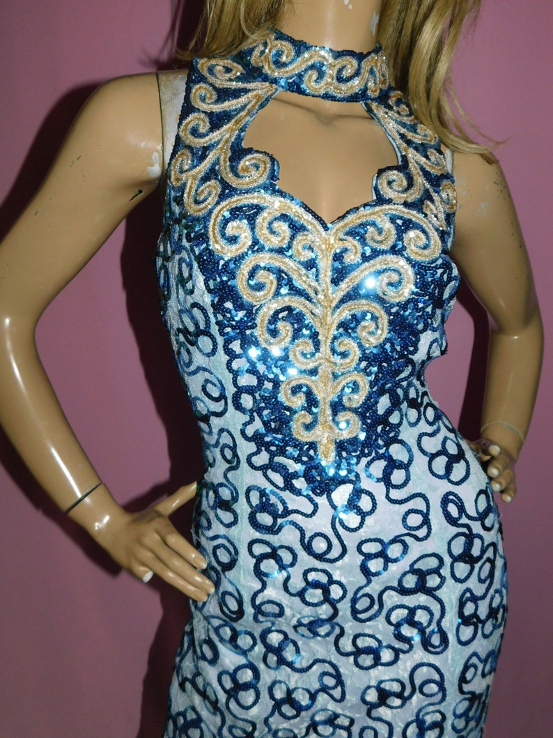 Vintage 70s Blue SEQUINNED CUTOUT SLIT Maxi Party Prom Evening Dress 10 S 1970s Mike Benet Formals Disco Drag Queen