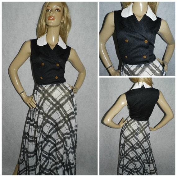 70s Black and White Contrast Secretary Dress