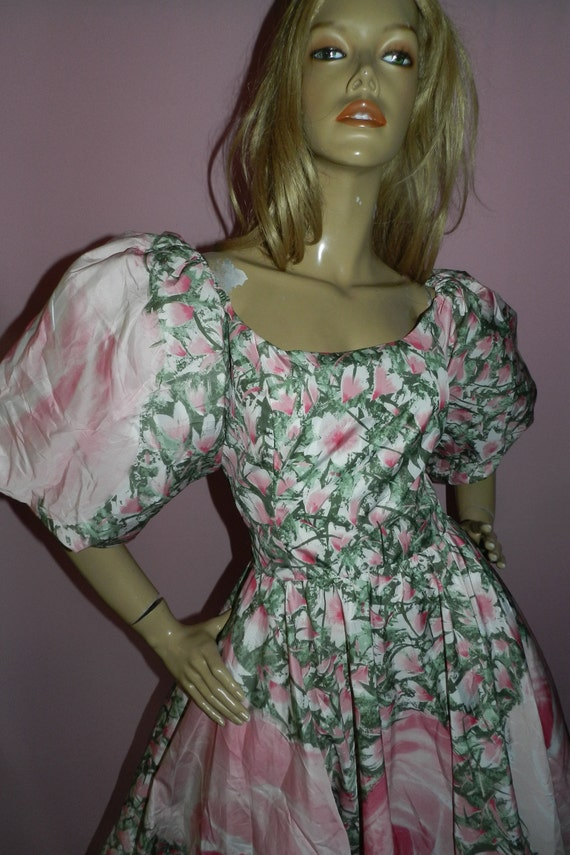 COSTA Puff Floral Party dress PEONY M sleeves 80s Extreme 1980s Prom Princess VICTOR Wedding Vintage 12 5nPHxWqa
