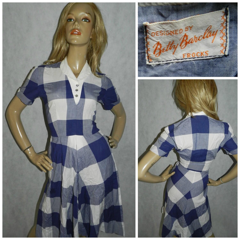 Vintage Betty Barclay 50s Blue White Check Tea Dress 8