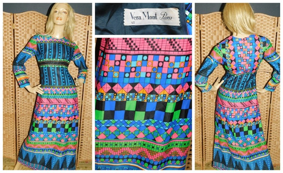 Vintage 70s Bold PSYCHEDELIC GEOMETRIC Print Maxi