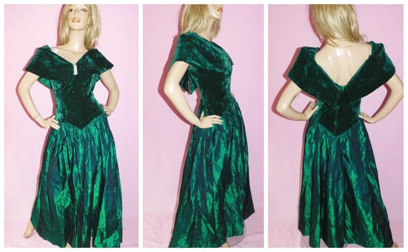 Vintage 80s EMERALD GREEN VELVET Maxi Princess Prom Dress 10Uk 6Us S 1980s Party Evening