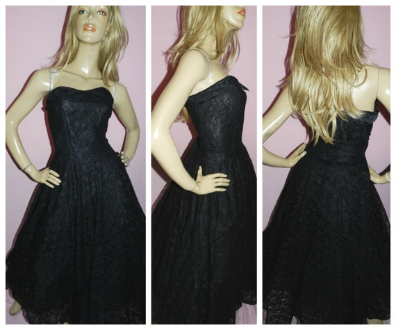 7b1fbf26d04 Vintage 80s 50s Revival BLACK LACE Strapless Prom Party dress 10 S 1980s  Cocktail Full Swing