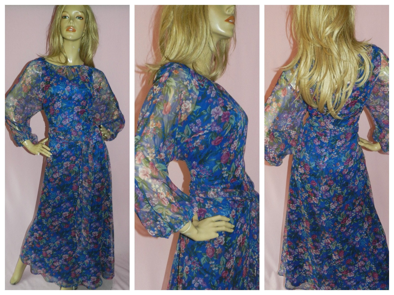 6dac3909a8 VINTAGE 70s Blue Multicoloured FLORAL Rose Print Chiffon floaty maxi dress  12-14 M 1970s Bohemian EVENING Party Sheer sleeves