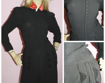 Vintage 30s Black Red Art Deco BEADED trim Evening dress 12 M 1930s WW2 Wartime Pin up