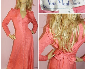 Vintage 70s Orange CORAL BOHEMIAN maxi dress 12 M 1970s Vera Mont Wedding Summer Boho Hippie