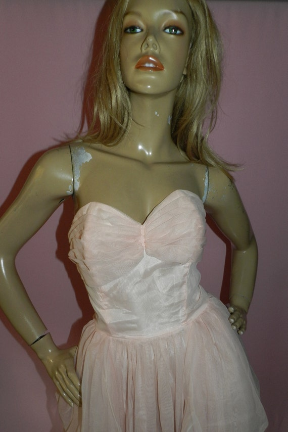 8 Peach CUPCAKE Prom 1950s S Xs dress Party PASTEL FROTHY Wedding Pink Tulle Strapless Net 50s 5PZxq8w1n