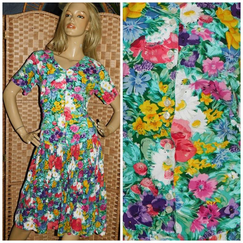 Vintage 1980s Multicoloured FLORAL ROSE Print Drop Waist Tea Dress 12 M 1980s Cheesecloth Cotton