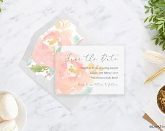 Danielle Suite : Printable Wedding Invitation, C6, Floral, Pink, Custom, Digital Download, Watercolour, Engagement, Save the Date
