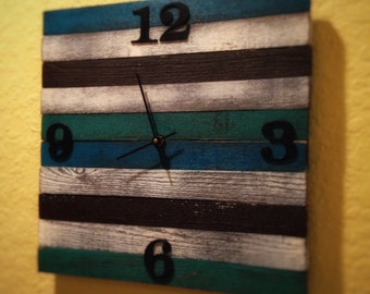 Striped Cedar Distressed Clock