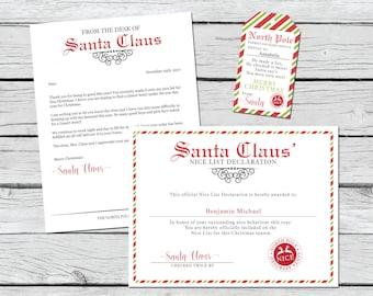 Santa Letter Kit - Letter from Santa - Nice List Certificate - Santa Gift Tag - Santa Printable - Santa Certificate - Editable Santa Letter