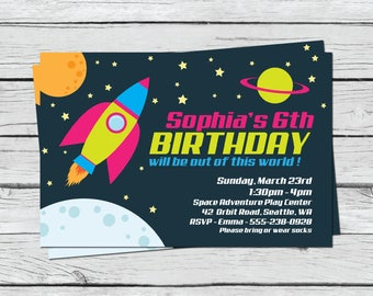 Space Birthday Party - Outer Space Birthday - Space Birthday Invitation - Girls Birthday Invitation - Printable Birthday Invitation