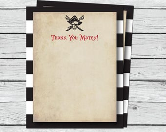 "Pirate Thank You Cards - Printable Thank You Notes - Birthday Thank You Notes - 4x5"" Flat Card - Printable Card - Pirate Birthday Thanks"