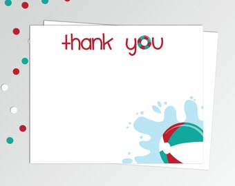 mermaid thank you cards printable thank you notes birthday etsy