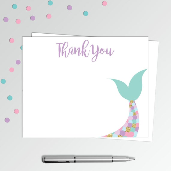 graphic relating to Thank You Notes Printable named Mermaid Thank On your own Playing cards - Printable Thank Oneself Notes - Birthday Thank By yourself Notes - 4x5\