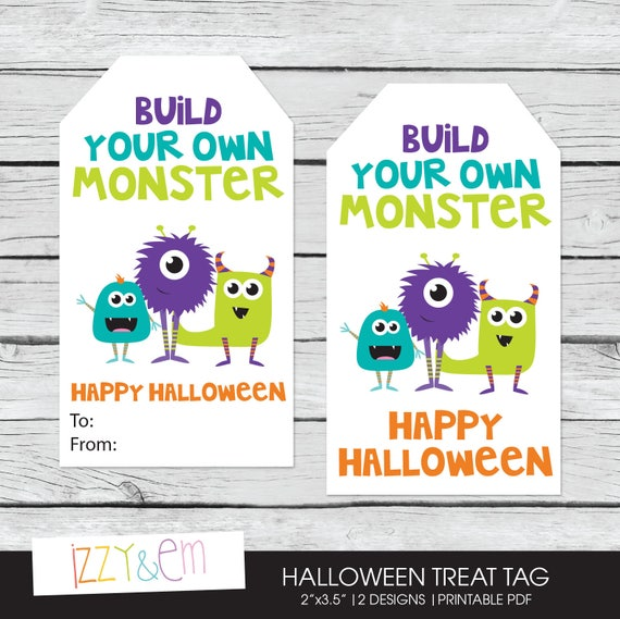 image regarding Build a Monster Printable called Goods comparable in the direction of Halloween Like Tag - Halloween Reward Tag