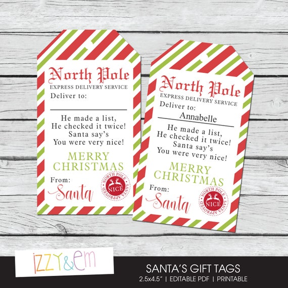 north pole gift tags santa gift tag christmas gift tags etsy