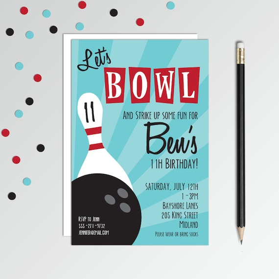 Bowling Birthday Invitation Party Invites Boys Etsy