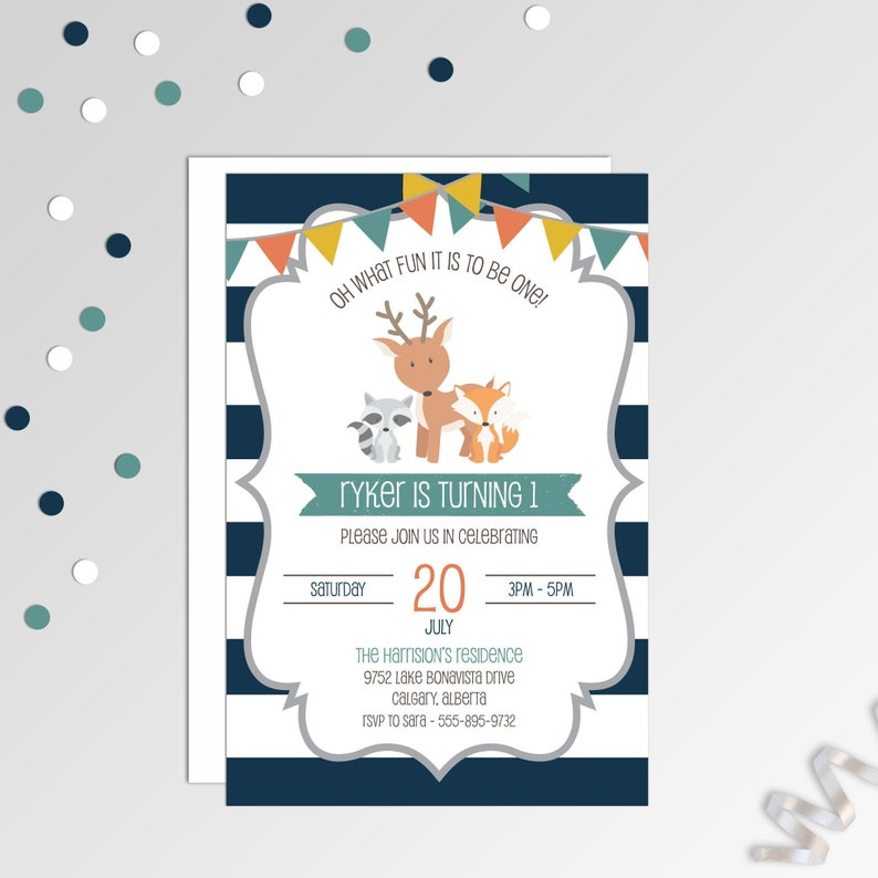 photograph relating to Printable Birthday Invitations for Boy named Initial Birthday Invitation - Boys Woodland Birthday Invitation - Printable Birthday Invite - Military And Orange Invitation
