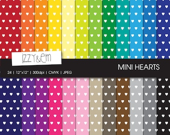 Mini Hearts - Digital Paper Pack - Rainbow Paper Pack - Scrapbooking Paper - Digital Scrapbooking - Digital Pattern - Printable Paper 12x12""