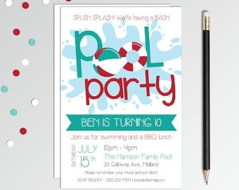 Pool Party Birthday Invitation - Pool Party Invitation - Boys Birthday Party - Swim Party Invitation - Printable Birthday Invitation
