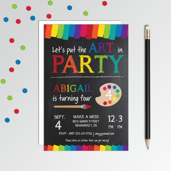 Art Party Invitation Birthday