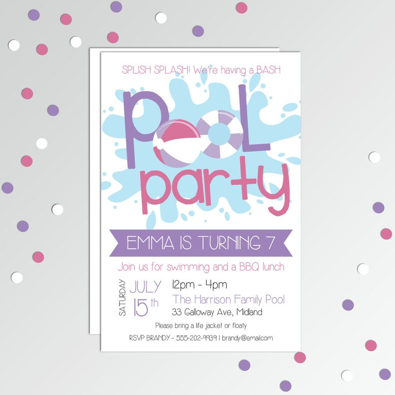 Girls Pool Party Invite Invitation