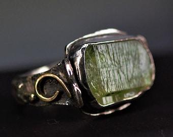 Peridot Rings - Handmade & Silver -- Natural Raw Uncut