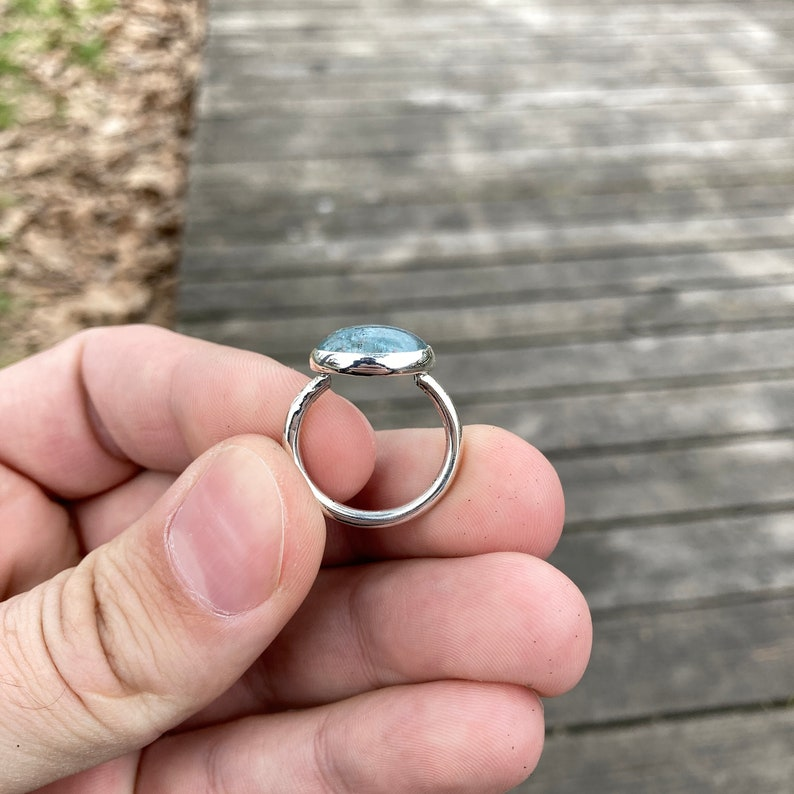 Stackable Rings Ocean Blue Aquamarine Simple Daily Use Design Aquamarine Silver Ring Handmade and Silver Ring Size 7 March Birthstone