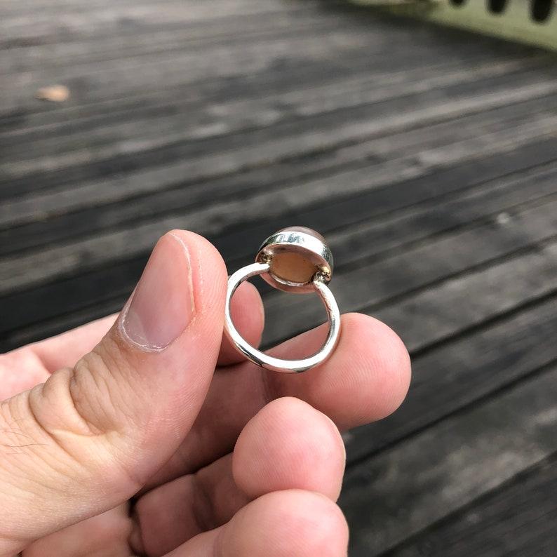 Handmade Peach Moonstone Ring Moonstone Statement Ring Pink Moonstone Sterling Silver Ring Natural Simple Design June Birthstone Ring