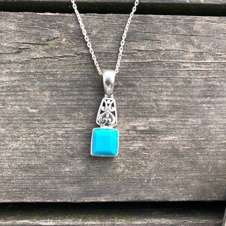 Handmade /& Silver Natural Turquoise Pendant Simple Design Genuine Turquoise Necklace