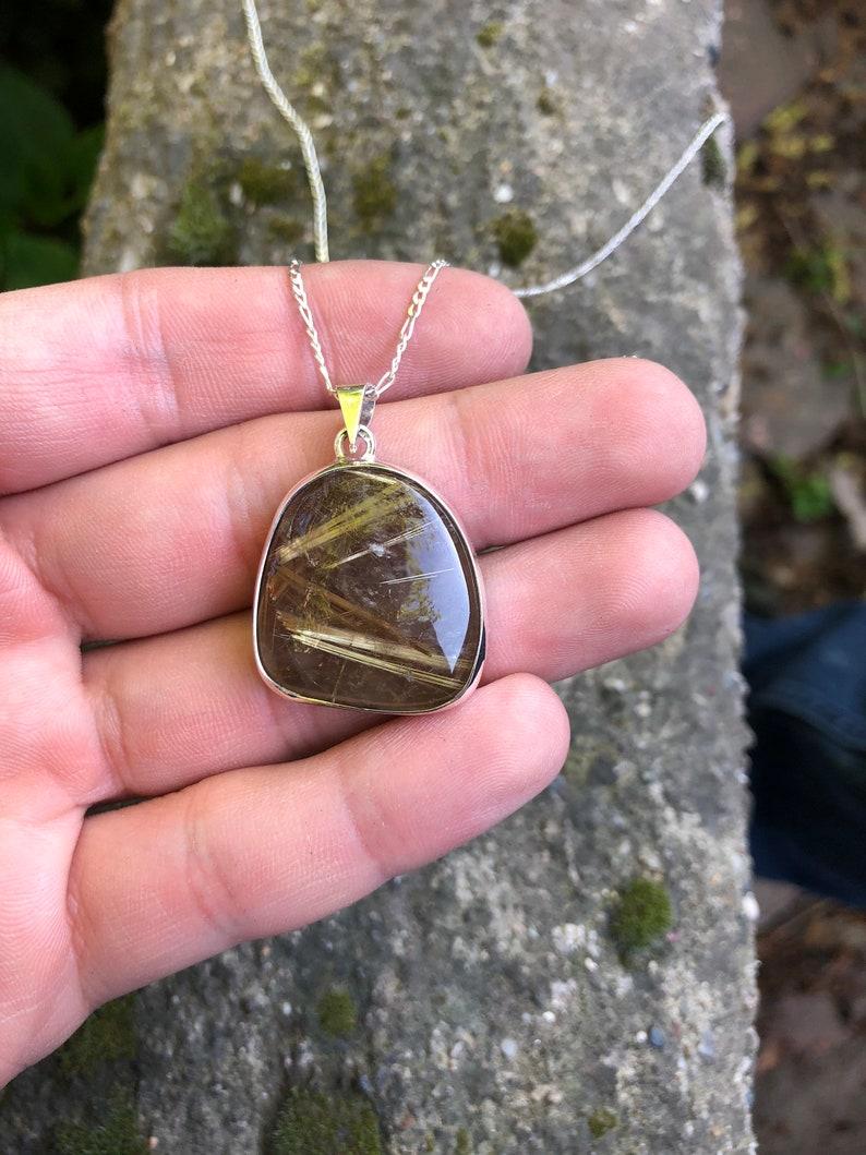 Rutilated Quartz Necklace Handmade /& Natural