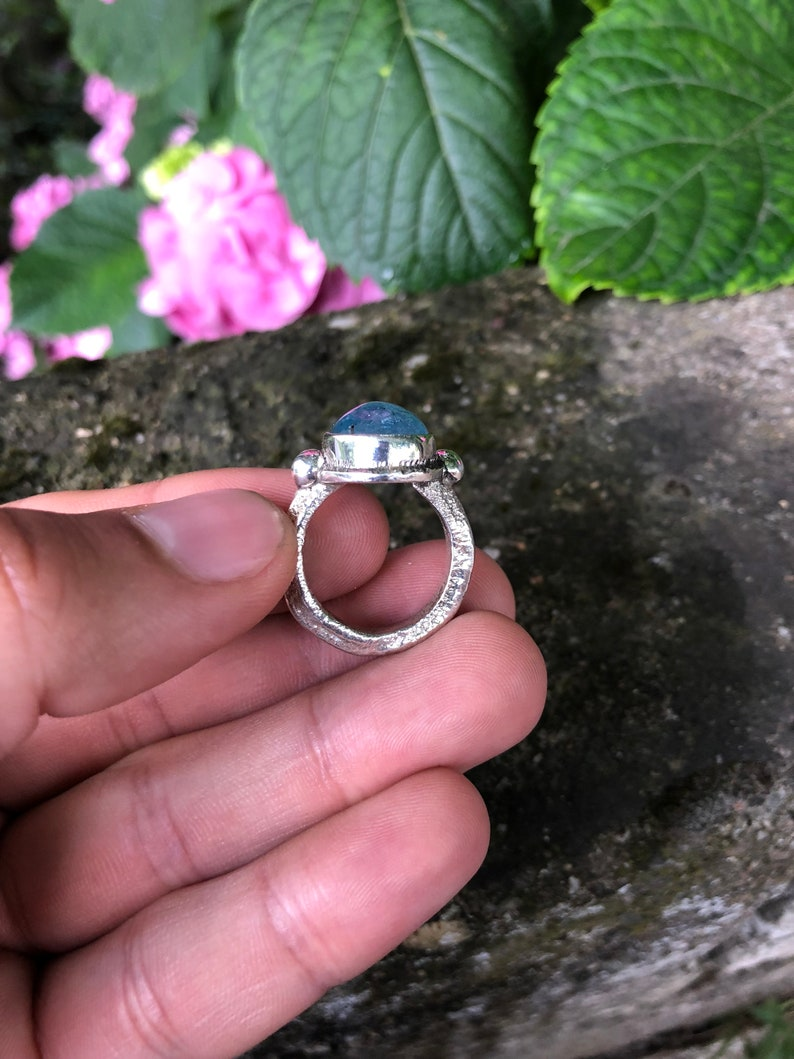 Awesome Blue Aquamarine Ring Completly Handmade /& Silver