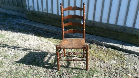 image 0 - Antique Ladder Back Chair Walnut Finish Rush Seat Etsy