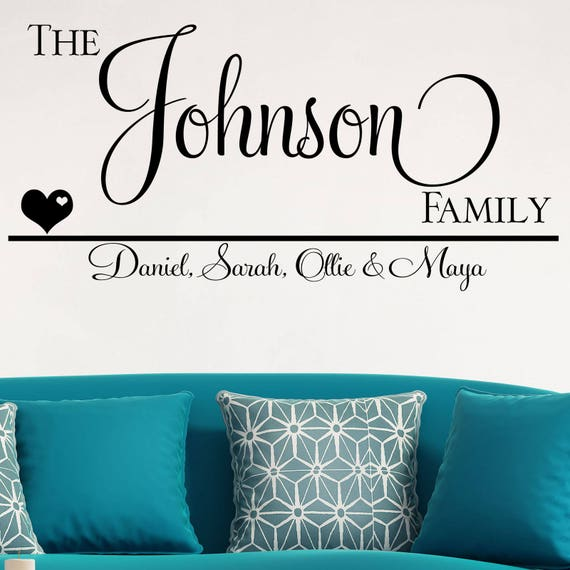 personalised wall sticker family vinyl decal transfer name | etsy