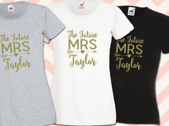 Ladies Hen Do T Shirt Bride Floral Hen Party Design T-Shirts with Gold Print