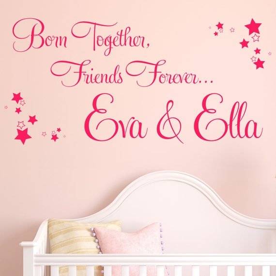 personalised wall sticker twins bedroom vinyl decal transfer | etsy