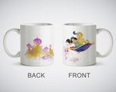 Aladdin Magic Carpet Jasmine Princess Mug Watercolor Art Print cup Coffe Tea Cup Kitchen Decor Magic or White Mug picture Flying Carpet