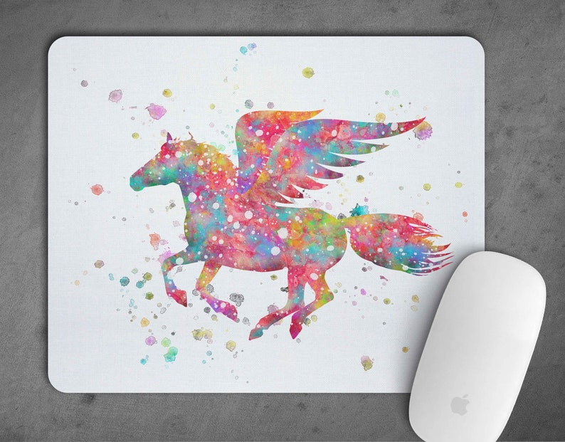 Pegasus Watercolor Mousepad Mouse Pad Art Print Decor express delivery option gift Nursery Art mouse mat Fairy Tale Nursery Room Art