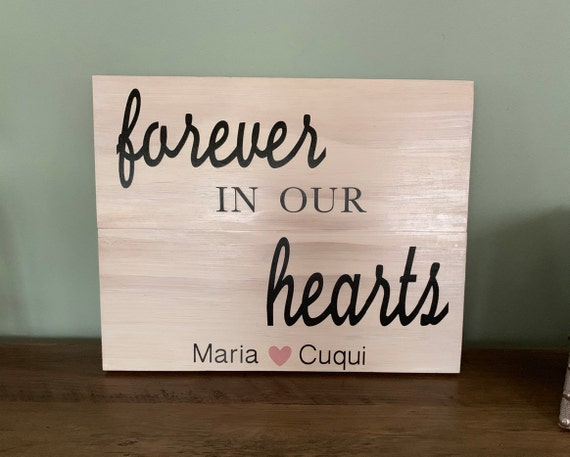 In Loving Memory Memorial Wood Sign Forever in our Hearts