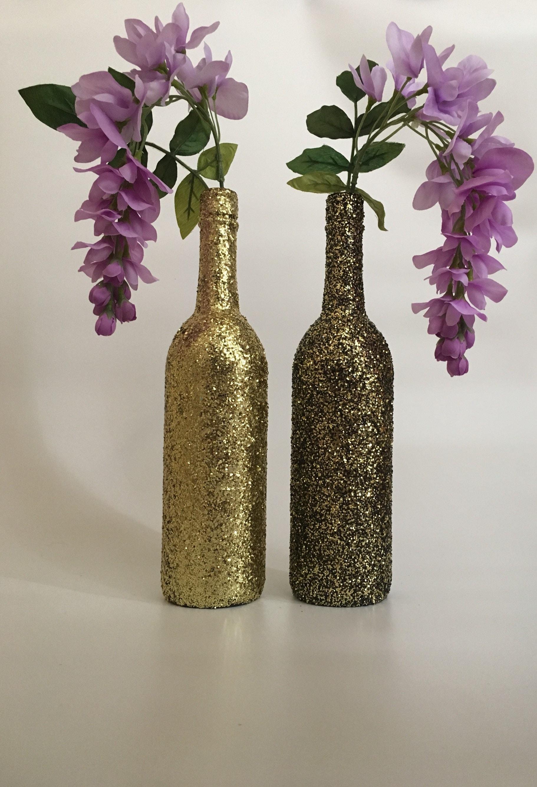 zoom Set of 2 Glitter Wine Bottles