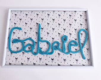 Frame knitting fabric and blue Gabriel flaments black-and-white > customize the name in knitting, color and fabric of your choice