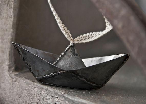 Small Metal Boat Origami Welded Iron Art Metal Sailboat Steel Etsy