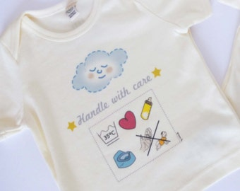 Baby Tshirt Humour Handle with care - High quality - Organic Coton
