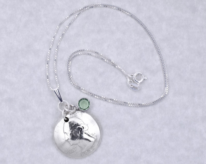 80th Birthday Gift 1939 Silver Quarter Coin Birthstone Pendant Necklace Jewelry Birthday Gift for Grandma Birthday Gift for Mother