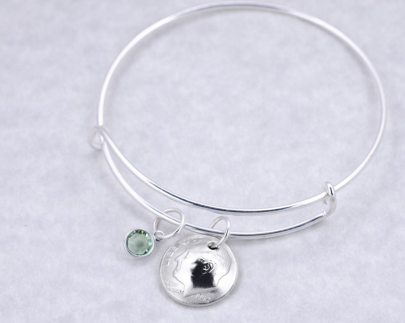 65th Birthday Gift Birthday Gift for Mother Birthday Gift for Grandma 1954 Silver Dime Coin Jewelry Birthstone Bangle Bracelet