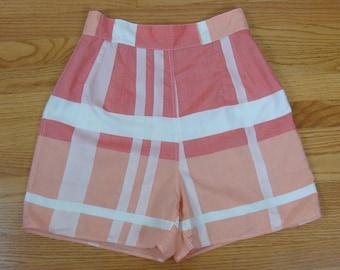 1950/'s High Waist Pinup Shorts  XSS Pastel Pinwheel Novelty Print