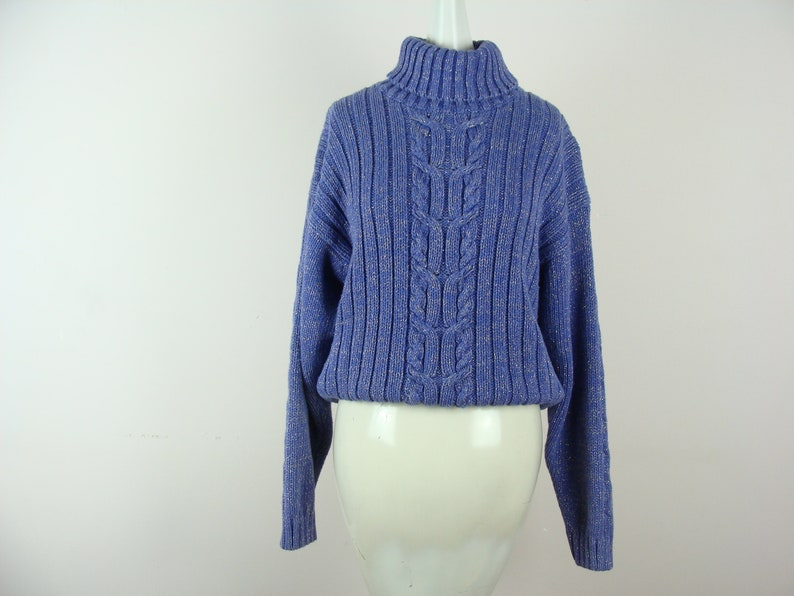 Vintage Turtleneck Sweater 80s Lurex Metallic Knit Leslie Fay Chunky Sweater Warm Cozy Glam Sparkly Cable Knit Ribbed Festive Holiday Fun