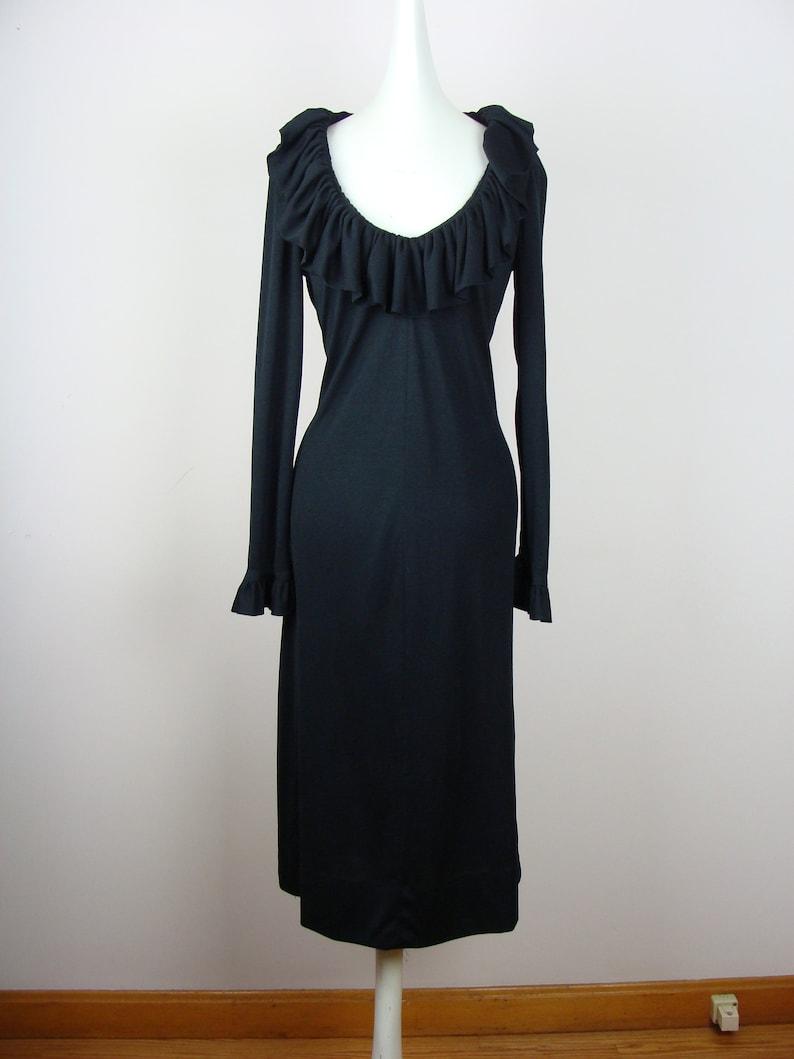 5e0f30eb6b7b Vintage Dress Ruffle Trim 70's V-neck Long Sleeve Dress | Etsy